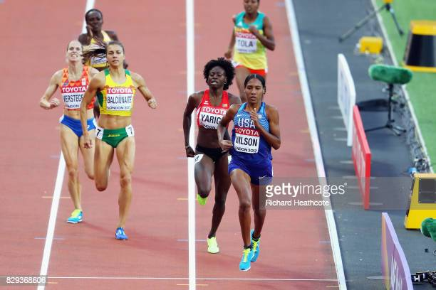 Ajee Wilson of United States wins heat one ahead of Noelie Yarigo of Benin and Egle Balciunaite of Lithuania of the womens 800 metres during day...