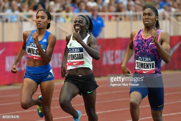 Ajee Wilson of USA Francine Nyonsaba of Burundi and Casper Semenya of South Africa women's 800m during the IAAF Diamond League Meeting Herculis on...