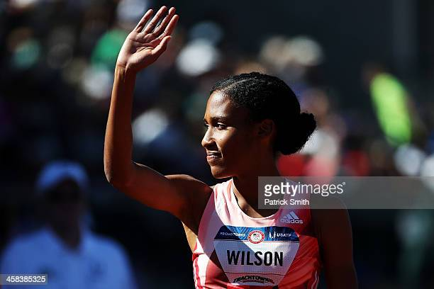 Ajee Wilson runs in the first round of the Women's 800 Meters during the 2016 US Olympic Track Field Team Trials at Hayward Field on July 1 2016 in...
