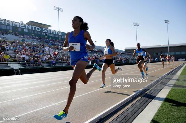 Ajee' Wilson runs in the Women's 800 Meter opening round during Day 1 of the 2017 USA Track Field Championships at Hornet Satdium on June 22 2017 in...