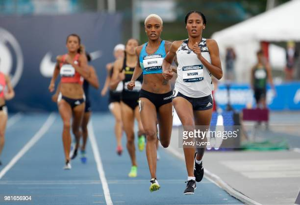 Ajee' Wilson runs to victory in the semifinals of the Womens 800 Meter during day 2 of the 2018 USATF Outdoor Championships at Drake Stadium on June...