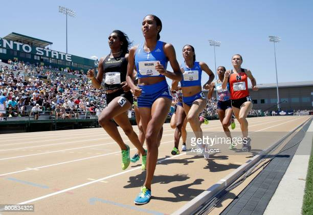 Ajee' Wilson runs to victory in the Women's 800 Meter Final during Day 4 of the 2017 USA Track Field Championships at Hornet Satdium on June 25 2017...