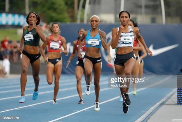 Ajee Wilson runs to victory in the Womens 800 Meter Final during day 4 of the 2018 USATF Outdoor Championships at Drake Stadium on June 24 2018 in...