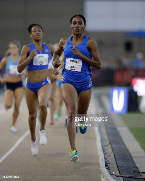 Ajee' Wilson runs to victory in the Women's 800 Meter semifinal during Day 2 of the 2017 USA Track Field Championships at Hornet Satdium on June 23...