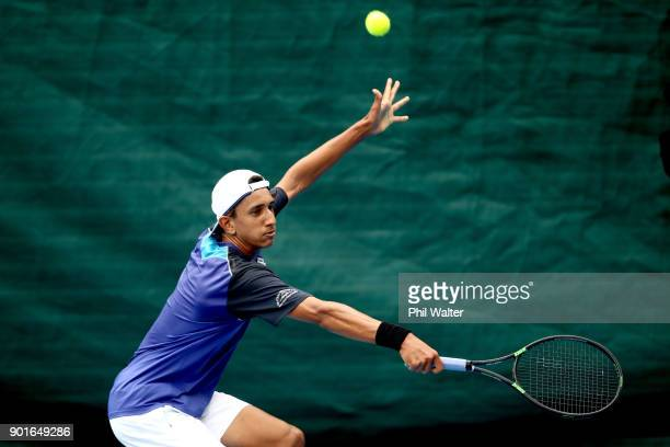 Ajeet Rai of New Zealand plays a backhand during the qualifing match against Taro Daniel of Japan during day six of the ASB Classic at ASB Tennis...