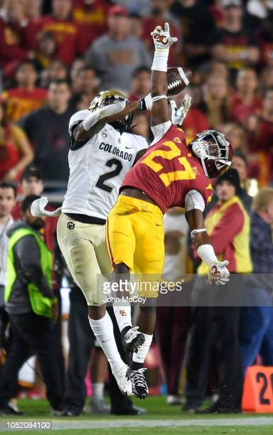 Ajene Harris of the USC Trojans breaks up a pass intended for Laviska Shenault Jr #2 of the Colorado Buffaloes in hte second quarter at Los Angeles...