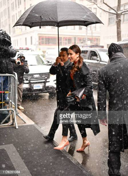 AJessica Mulroney arrives to The Mark Hotel for Meghan Duchess of Sussex's baby shower on February 20 2019 in New York City