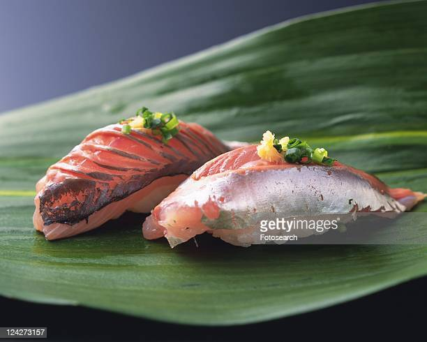 aji, hand-shaped sushi - jack fish stock pictures, royalty-free photos & images