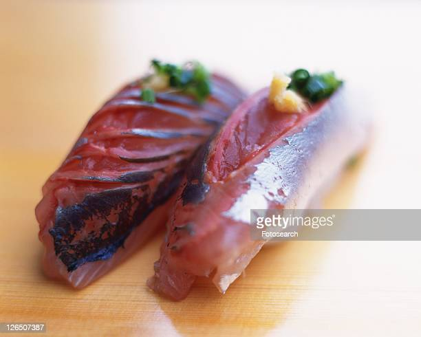 aji, hand-shaped sushi - trachurus stock pictures, royalty-free photos & images
