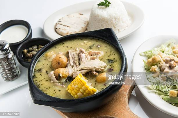 ajiaco (colombian chicken potato soup) - colombia stock pictures, royalty-free photos & images