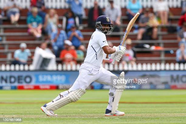 Ajinkya Rahane bats during day one of the First Test match between New Zealand and India at Basin Reserve on February 21 2020 in Wellington New...