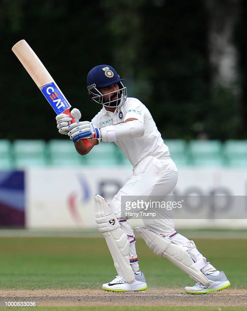 Ajinkya Rahane of India A bats during Day Two of the Tour Match match between England Lions and India A at New Road on July 17 2018 in Worcester...