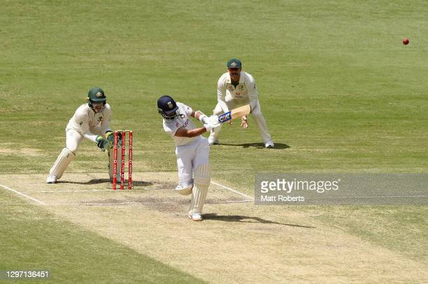 Ajinkya Rahane of India bats during day five of the 4th Test Match in the series between Australia and India at The Gabba on January 19, 2021 in...