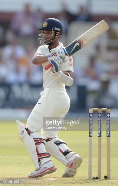 Ajinkya Rahane of India bats during day one of 2nd Investec Test match between England and India at Lord's Cricket Ground on July 17, 2014 in London,...