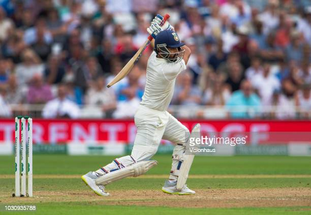 Ajinkya Rahane of India bats during day three of the Specsavers 3rd Test match between England and India at Trent Bridge on August 20 2018 in...