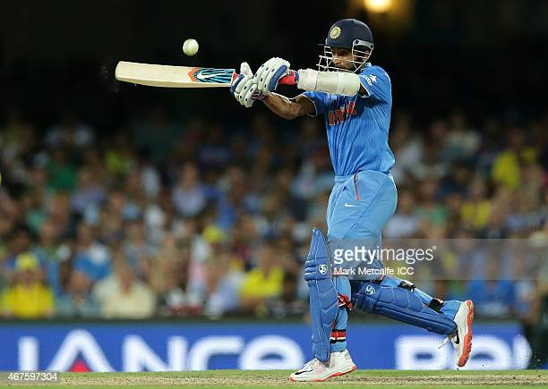 Ajinkya Rahane of India bats during the 2015 Cricket World Cup Semi Final match between Australia and India at Sydney Cricket Ground on March 26 2015...
