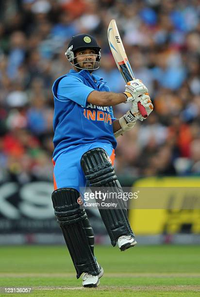 Ajinkya Rahane of India bats during the NatWest International Twenty20 Match between England and India at Old Trafford on August 31, 2011 in...