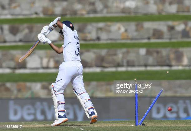 Ajinkya Rahane of India bowled by Shannon Gabriel of West Indies during day 1 of the 1st Test between West Indies and India at Vivian Richards...