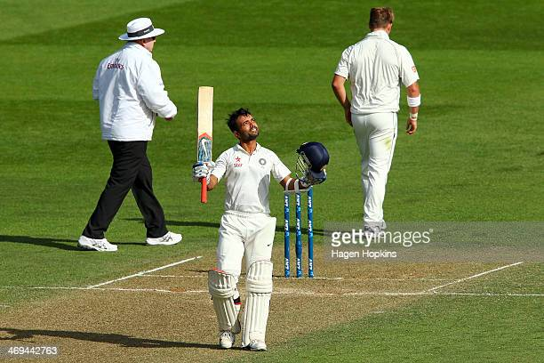 Ajinkya Rahane of India celebrates his century during day two of the 2nd Test match between New Zealand and India on February 15 2014 in Wellington...