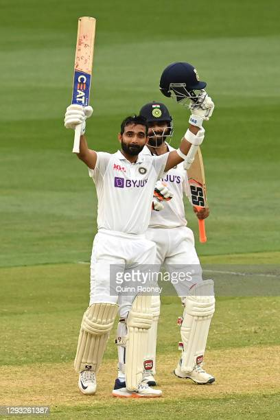 Ajinkya Rahane of India celebrates making his century during day two of the Second Test match between Australia and India at Melbourne Cricket Ground...