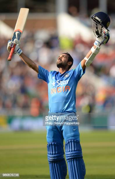 Ajinkya Rahane of India celebrates reaching his century during his innings of 106 in the 4th Royal London One Day International between England and...