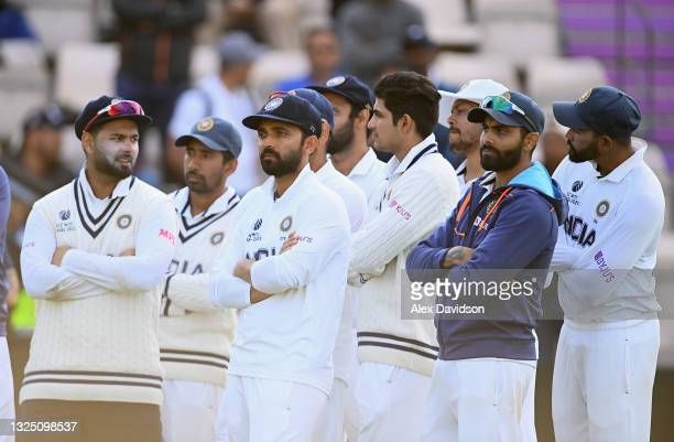 Ajinkya Rahane of India looks dejected after the Reserve Day of the ICC World Test Championship Final between India and New Zealand at The Hampshire...
