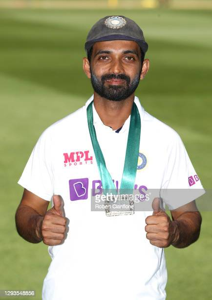 Ajinkya Rahane of India poses with the man of the match award after India defeated Australia during day four of the Second Test match between...