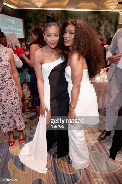 Ajiona Alexus and Angela Bassett attend the 2018 Essence Black Women In Hollywood Oscars Luncheon at Regent Beverly Wilshire Hotel on March 1 2018 in...