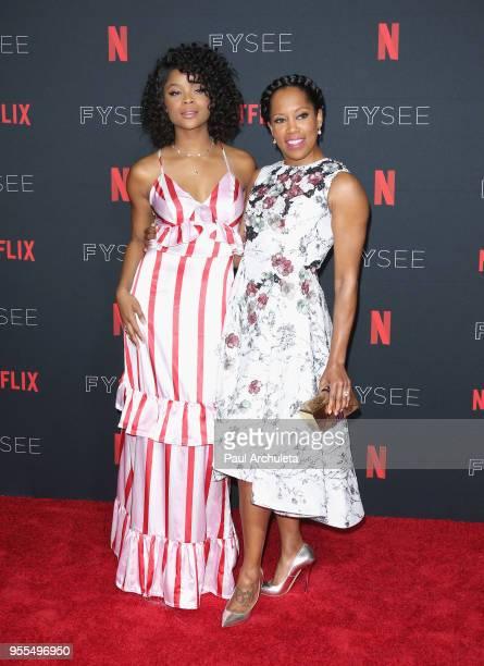 Ajiona Alexus and Regina King attend the Netflix FYSEE KickOff at Netflix FYSEE At Raleigh Studios on May 6 2018 in Los Angeles California