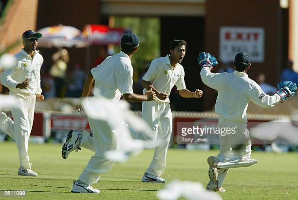 Ajit Agarkar celebrates the wicket of Simon Katich caught Chopra bowled Agarkar for 31 in the 2nd Test between Australia and India at the Adelaide...