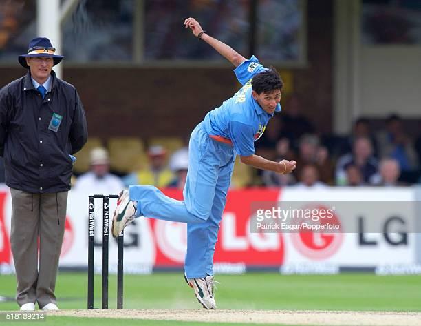 Ajit Agarkar of India bowling during the NatWest Series One Day International between India and Sri Lanka at Edgbaston Birmingham 6th July 2002 India...
