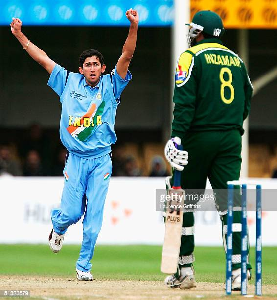 Ajit Agarkar of India celebrates the wicket of InzamamUlHaq of Pakistan during The ICC Champions Trophy England 2004 match between Pakistan and India...