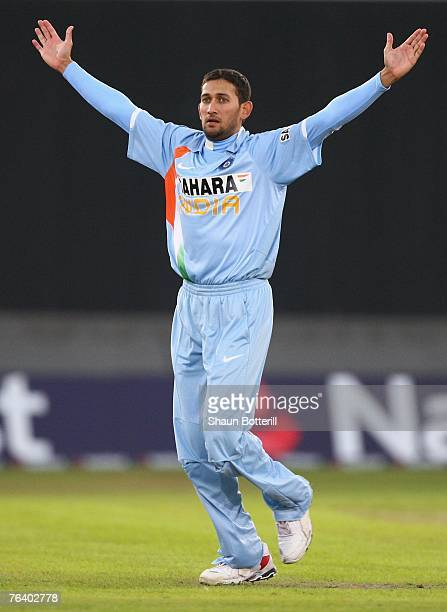 Ajit Argakar of India celebrates taking the wicket of Kevin Pietersen of England during the Fourth NatWest Series One Day International Match between...
