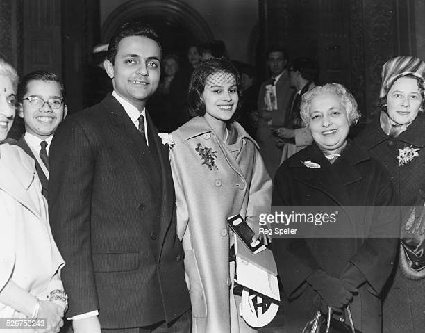 Ajit Hutheesing, nephew of Indian Prime Minister Nehru, marrying Amrita Nigam, pictured with Indian High Commissioner in London Mrs Pandit, at Caxton...