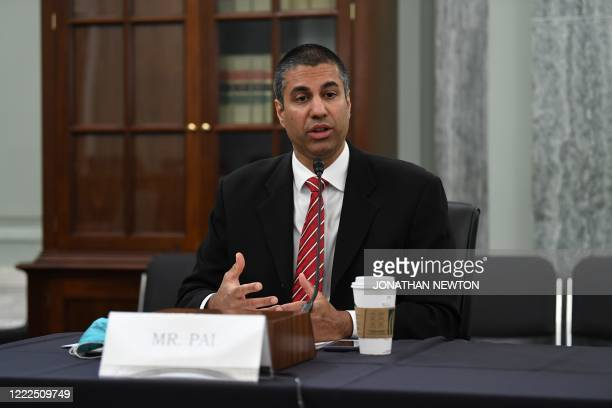 Ajit Pai, Chairman, Federal Communications Commission testifies during an oversight hearing to examine the Federal Communications Commission on June...