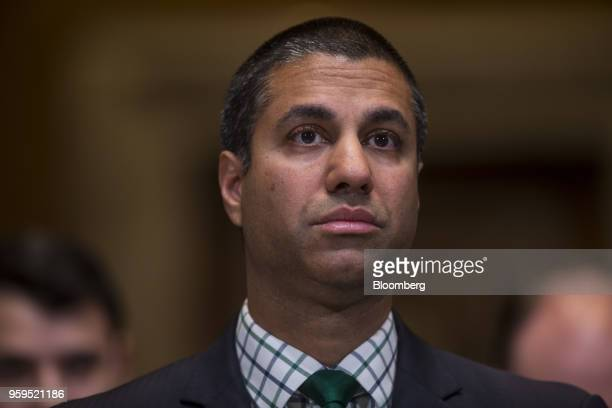 Ajit Pai chairman of the Federal Communications Commission listens during a Senate Appropriations Subcommittee hearing in Washington DC US on...
