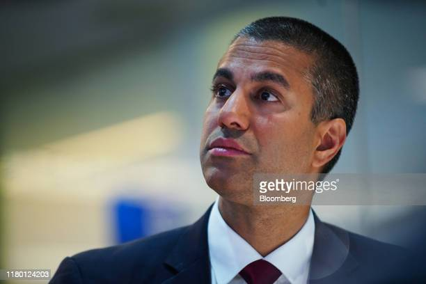 Ajit Pai, chairman of the Federal Communications Commission , listens during an interview in New York, U.S., on Tuesday, Nov. 5, 2019. Pai discussed...