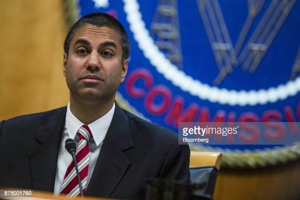 Ajit Pai chairman of the Federal Communications Commission pauses while speaking during an open meeting in Washington DC US on Thursday Nov 16 2017...