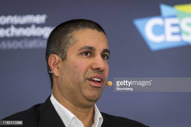 Ajit Pai, chairman of the Federal Communications Commission , speaks during a panel discussion at CES 2020 in Las Vegas, Nevada, U.S., on Tuesday,...