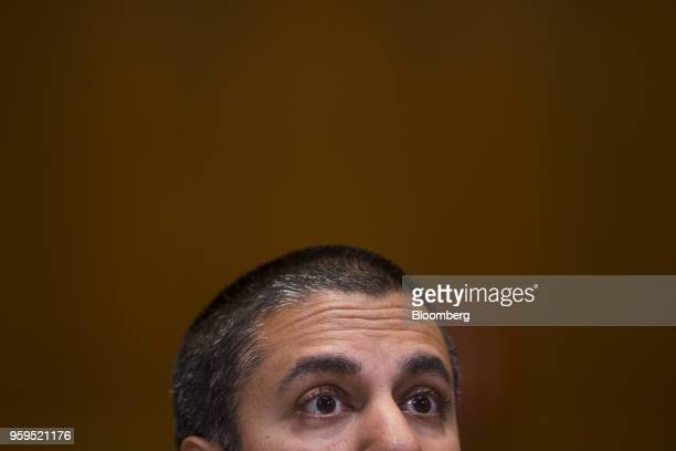 Ajit Pai chairman of the Federal Communications Commission speaks during a Senate Appropriations Subcommittee hearing in Washington DC US on Thursday...