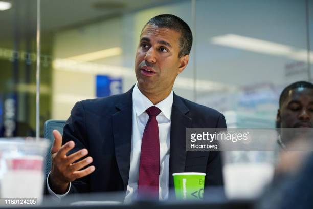Ajit Pai, chairman of the Federal Communications Commission , speaks during an interview in New York, U.S., on Tuesday, Nov. 5, 2019. Pai discussed...