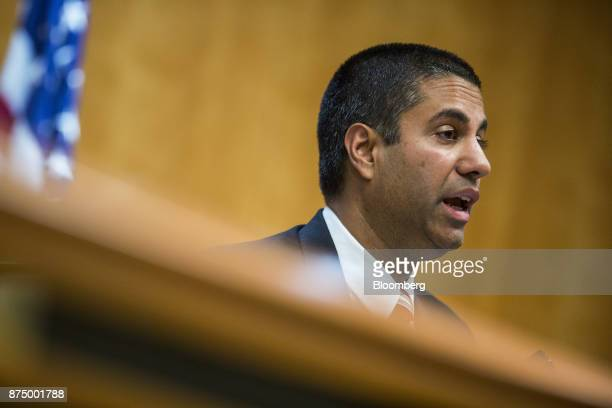 Ajit Pai chairman of the Federal Communications Commission speaks during an open meeting in Washington DC US on Thursday Nov 16 2017 The FCC plans to...