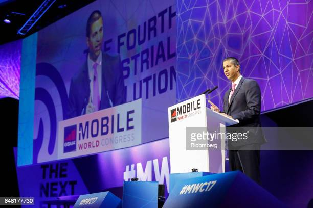 Ajit Pai, chairman of the U.S. Federal Communications Commission, delivers a speech on the second day of Mobile World Congress in Barcelona, Spain,...