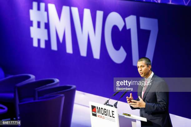 Ajit Pai, chairman of the U.S. Federal Communications Commission, gestures while speaking on the second day of Mobile World Congress in Barcelona,...