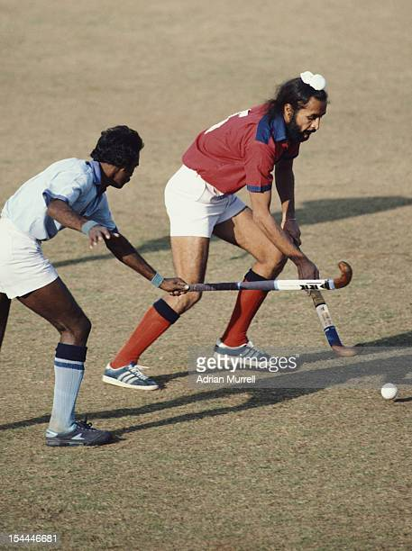 Ajit Pal Singh of India and captain of the Indian national hockey team during the Nehru Hockey Tournament on 15th November 1983 at the National...