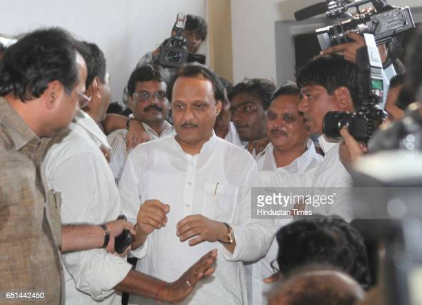 Ajit Pawar enters at NCP office for the press conferance