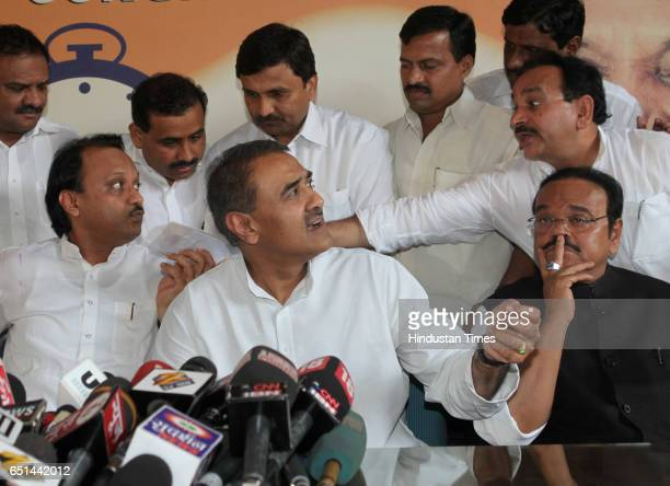 Ajit Pawar Praful Patel and Chagan Bhujba during the press conferance during NCP unanimously decided his name for the post of deputy chief minister...