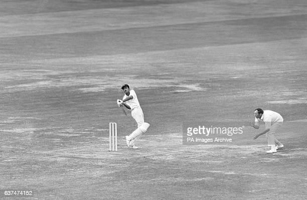 Ajit Wadekar the Indian captain hooks Richard Hutton for 4
