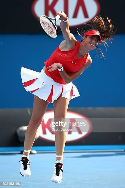 Ajita Tomljanovic of Australia serves in her first round match against Kateryna Bondarenko of the Ukraine during day one of the 2016 Australian Open...