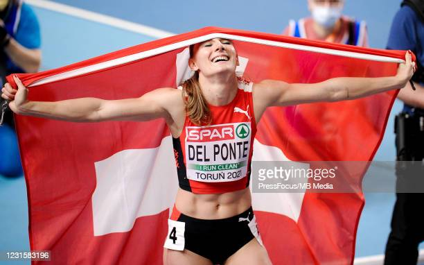 Ajla Del Ponte of Switzerland celebrates during the second session on Day 3 of European Athletics Indoor Championships at Arena Torun on March 07,...